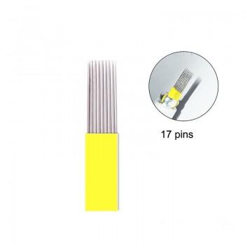 10  AGUJAS MICROBLADING DOBLE 17 PINS MICROSHADING