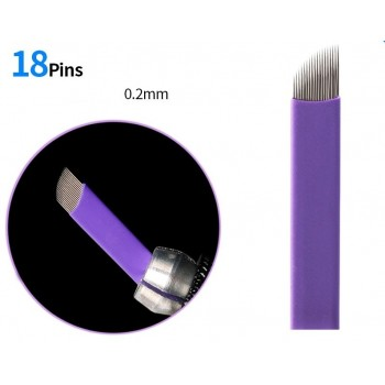 10 AGUJAS DE MICROBLADING 18 PINS FLEX DE 0.20MM BISELADAS
